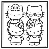 Printable Hello Kitty Family Portrait - Printable Hello Kitty - Free Printable Coloring Pages