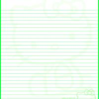 Printable Hello Kitty Green Stationery - Printable Stationary - Free Printable Activities