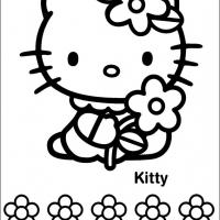 Printable Hello Kitty Holding a Flower - Printable Hello Kitty - Free Printable Coloring Pages