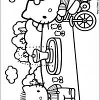 Printable Hello Kitty in Bike - Printable Hello Kitty - Free Printable Coloring Pages