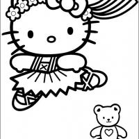 Printable Hello Kitty in Her Tutu - Printable Hello Kitty - Free Printable Coloring Pages