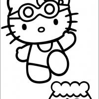 Printable Hello Kitty in Swimsuit - Printable Hello Kitty - Free Printable Coloring Pages