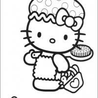 Printable Hello Kitty Is Taking A Bath - Printable Hello Kitty - Free Printable Coloring Pages