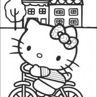 Printable Hello Kitty On A Bike In Front Of The House - Printable Hello Kitty - Free Printable Coloring Pages