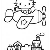 Printable Hello Kitty On A Plane - Printable Hello Kitty - Free Printable Coloring Pages
