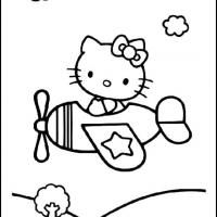 Printable Hello Kitty on an Airplane - Printable Hello Kitty - Free Printable Coloring Pages