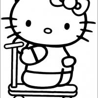 Printable Hello Kitty On Her Bikeboard - Printable Hello Kitty - Free Printable Coloring Pages
