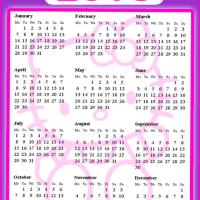 Printable Hello Kitty Pink and Purple 2013 Calendar - Printable Yearly Calendar - Free Printable Calendars