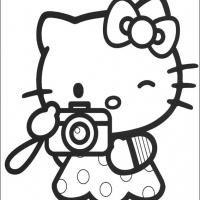Printable Hello Kitty Taking Photo - Printable Hello Kitty - Free Printable Coloring Pages