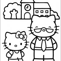 Printable Hello Kitty with Dad - Printable Hello Kitty - Free Printable Coloring Pages