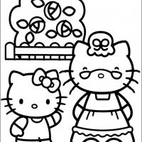 Printable Hello Kitty with Grandma - Printable Hello Kitty - Free Printable Coloring Pages