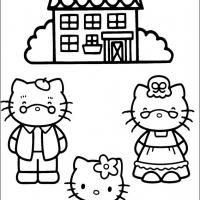 Printable Hello Kitty with Grandpa  and Grandma - Printable Hello Kitty - Free Printable Coloring Pages