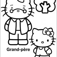 Printable Hello Kitty with Grandpa - Printable Hello Kitty - Free Printable Coloring Pages