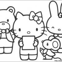 Printable Hello Kitty with Teacher and Friends - Printable Hello Kitty - Free Printable Coloring Pages