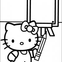 Printable Hello Kitty Writing On The Board - Printable Hello Kitty - Free Printable Coloring Pages