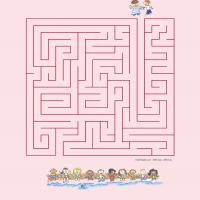 Printable Help The Children Find Their Way To The Swimming Pool - Printable Mazes - Free Printable Games