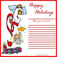 Printable Holiday Angels Guest Book - Printable Paper - Misc Printables