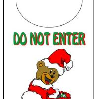 Holiday Bear Do Not Enter Door Knob Hanger