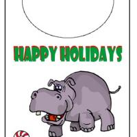 Printable Holiday Hippo Door Knob Hanger - Printable Fun - Free Printable Activities