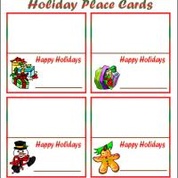 Printable Holiday Place Cards - Printable Place Cards - Free Printable Cards