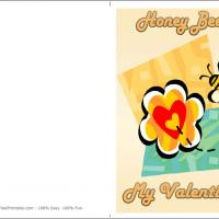 Printable Honey Bee My Valentine - Printable Valentines - Free Printable Cards