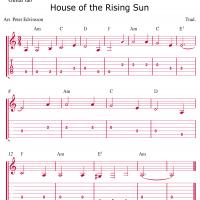 Printable House Of The Rising Sun Guitar Sheet - Printable Guitar Music - Free Printable Music