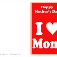 Printable I Heart Mom - Printable Mothers Day Cards - Free Printable Cards