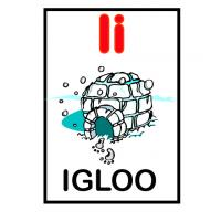I is for Igloo Flash Card