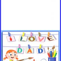 Printable I Love Dad Painting - Printable Fathers Day Cards - Free Printable Cards