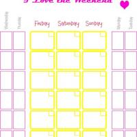 Printable I Love The Weekend Calendar - Printable Weekly Calendar - Free Printable Calendars
