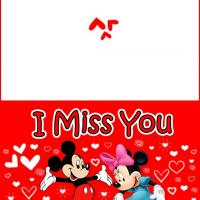Printable I Miss You Mickey and Minnie - Printable Greeting Cards - Free Printable Cards