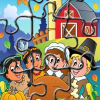 Printable Indians and Pilgrims Thanksgiving Puzzle - Printable Puzzles - Free Printable Games