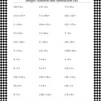 Integer Addition and Subtraction Worksheet