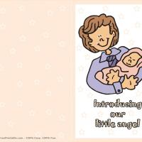 Printable Introducing The Little Angel - Printable Baby Cards - Free Printable Cards