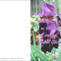 Printable Iris Themed Mother's Day Card - Printable Mothers Day Cards - Free Printable Cards