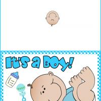 Printable It's a Boy Dotted Card - Printable Baby Cards - Free Printable Cards