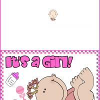 Printable It's a Girl Dotted Card - Printable Baby Cards - Free Printable Cards