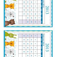 January - February Cartoon Animals 2013 Calendars