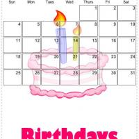 Printable January 2009 Birthday Cake Calendar - Printable Monthly Calendars - Free Printable Calendars