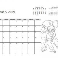 Printable January 2009 The Flash Coloring Calendar - Printable Monthly Calendars - Free Printable Calendars