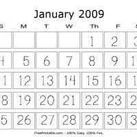 Printable January 2009 Writing Calendar - Printable Calendar Pages - Free Printable Calendars