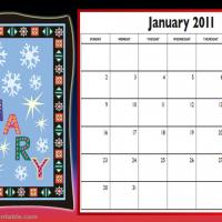 Printable January 2011 Colorful Designed Calendar - Printable Monthly Calendars - Free Printable Calendars