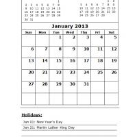 Printable January 2013 Calendar with Holidays - Printable Monthly Calendars - Free Printable Calendars