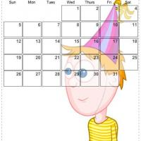 Printable July 2009 Birthday Boy Calendar - Printable Monthly Calendars - Free Printable Calendars