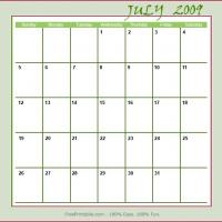 July 2009 Planner Calendar