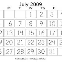 July 2009 Writing Calendar