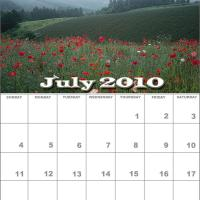 Printable July 2010 Nature Calendar - Printable Monthly Calendars - Free Printable Calendars