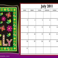 Printable July 2011 Colorful Designed Calendar - Printable Monthly Calendars - Free Printable Calendars