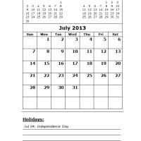 Printable July 2013 Calendar with Holidays - Printable Monthly Calendars - Free Printable Calendars