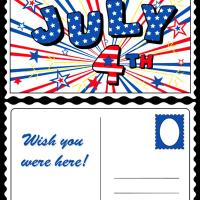 Printable July 4th Postcard - Printable Greeting Cards - Free Printable Cards